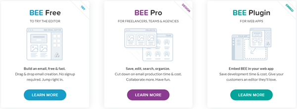 BEE responsive email editor pricing