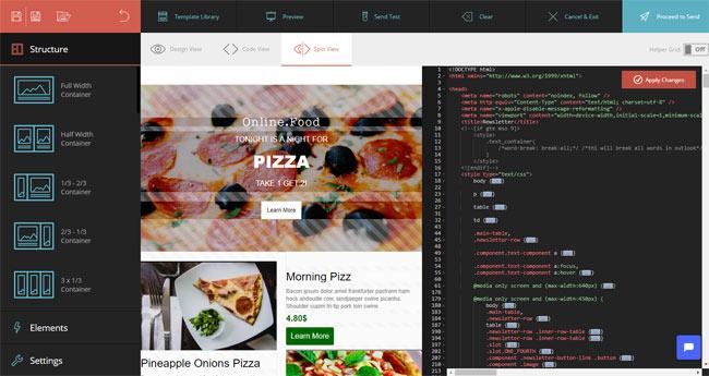 moosend email HTML editor code editor
