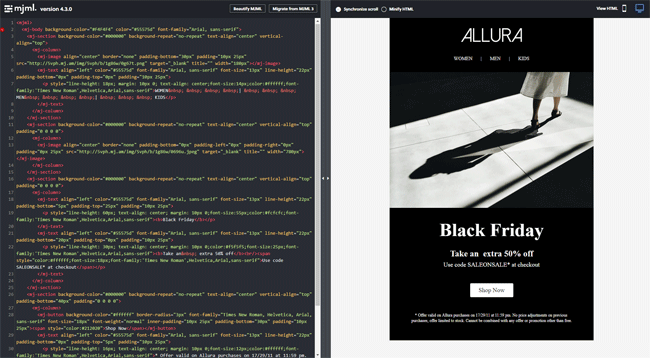 MJML email framework responsive