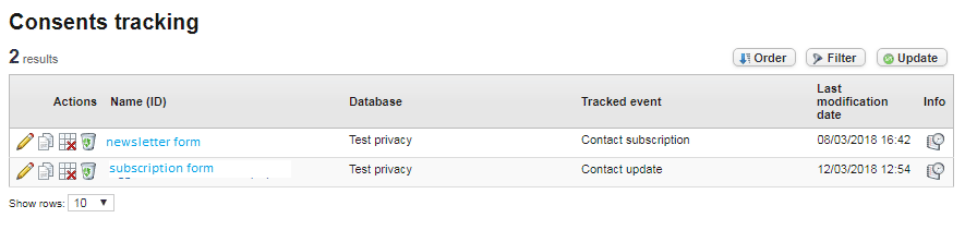 Archiving and exporting the consent file