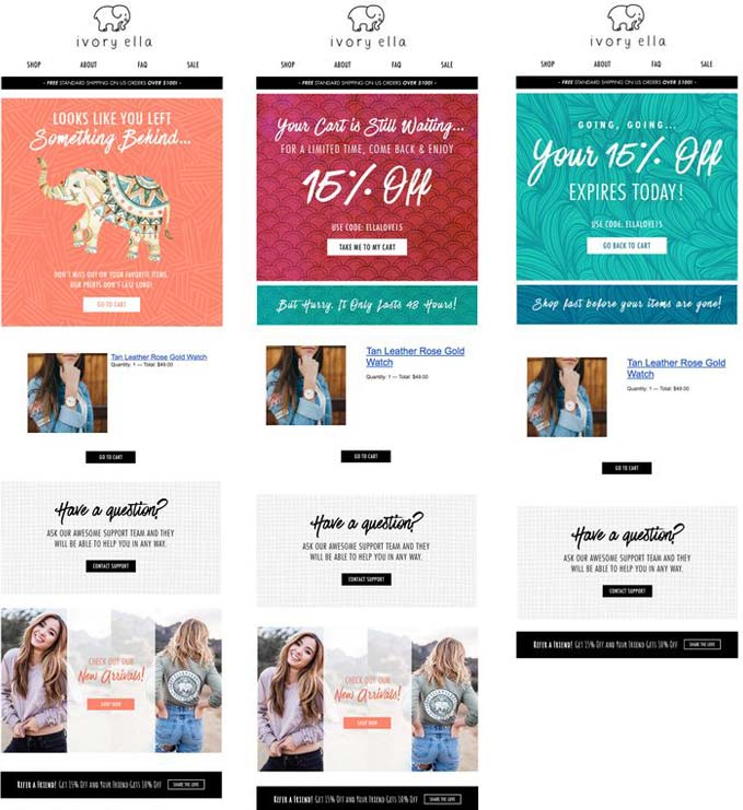 ecommerce abandonned cart series example ivory ella