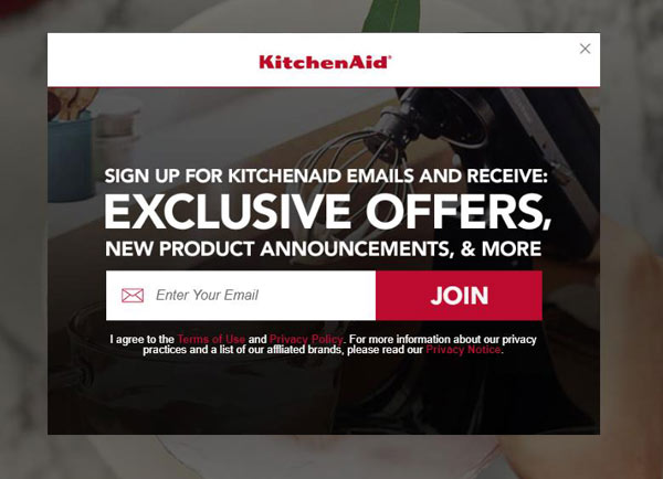 kitchenaid ecommerce opt-in pop-up