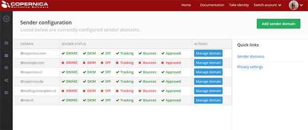 Copernica marketing software Sender Domains