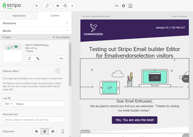stripo email editor review email builder